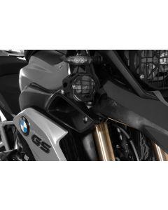 Set of LED auxiliary headlights, fog right/full beam headlight left, black aluminium for BMW R1200GS from 2013
